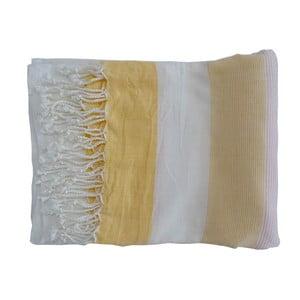 Žlutá ručně tkaná osuška z prémiové bavlny Homemania Gokku Hammam,100x180 cm