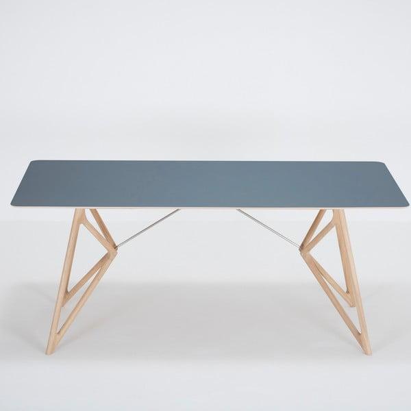 Jídelní stůl z masivního dubového dřeva s tmavě modrou deskou Gazzda Tink, 180x90cm