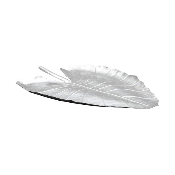 Bol decorativ Mauro Ferretti Leaf, 32x47,5cm, argintiu