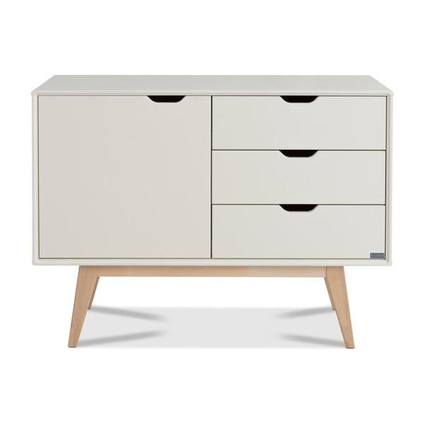 Comodă fabricată manual din lemn de mesteacăn Kiteen Kolo, 75 x 101 cm, alb