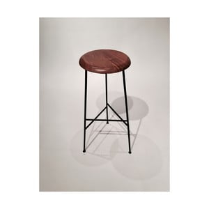 Barová stolička s podsedákem z akáciového dřeva Simla Bar, výška48cm