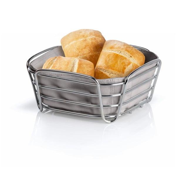 Šedý košík na pečivo s šedou bavlněnou vložkou Blomus Delara, šířka20cm
