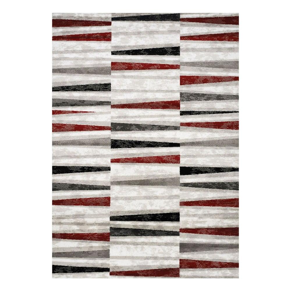 Šedo-červený koberec Webtappeti Manhattan Tribeca,80x150cm