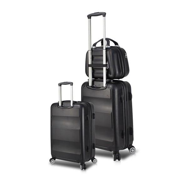 LASSO Cab Med & MU 2 fekete görgős bőrönd és kézipoggyász szett USB csatlakozóval - My Valice