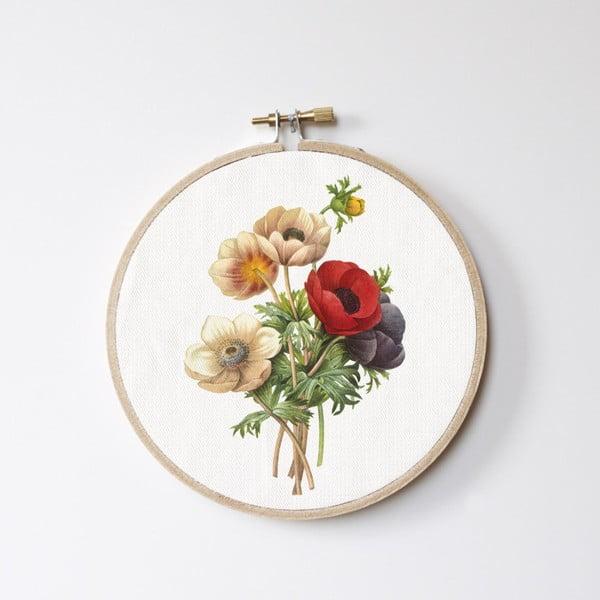 Dekoracja ścienna Surdic Stitch Hoop Flowers, ⌀ 27 cm