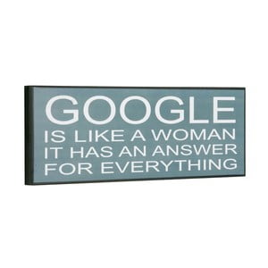 Cedule Google is like a woman, 14x40 cm
