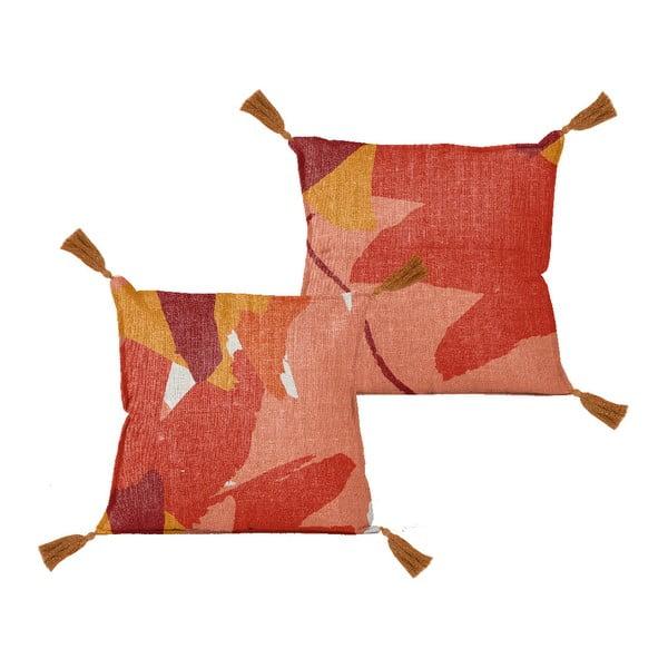 Pernă Linen Borlas Red Blocks, 45 x 45 cm