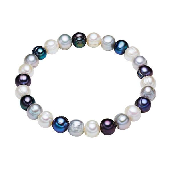 Modro-bílý perlový náramek Chakra Pearls, 19 cm