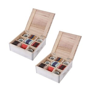 Sada 2 bílých dřevěných krabiček na čaj Mendler Shabby