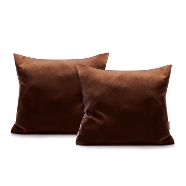 Set 2 fețe de pernă din bumbac DecoKing Amber Chocolate, 40 x 40 cm, maro închis