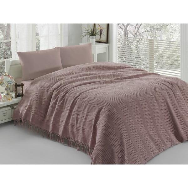 Cuvertură subțire pentru pat Pique Dusty Rose, 220 x 240 cm