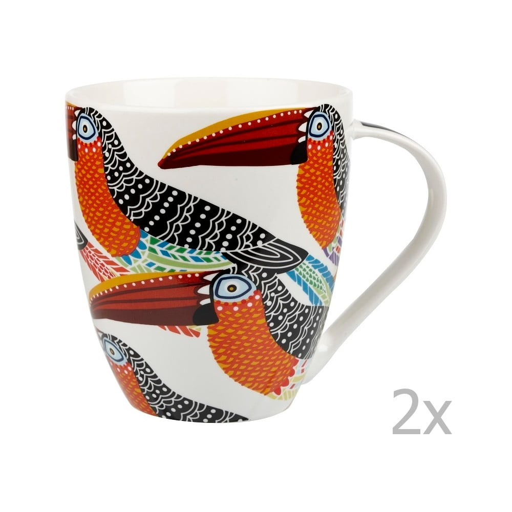 Sada 2 hrnků z porcelánu Churchill China Toucans 500 ml