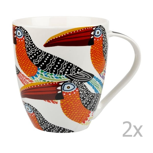 Sada 2 hrnků z kostního porcelánu Churchill China Toucans, 500 ml