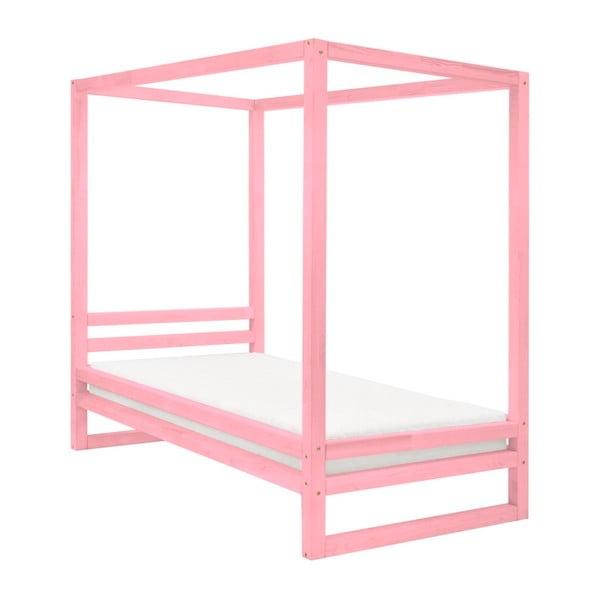 Ružová drevená jednolôžková posteľ Benlemi Baldee, 190 × 120 cm