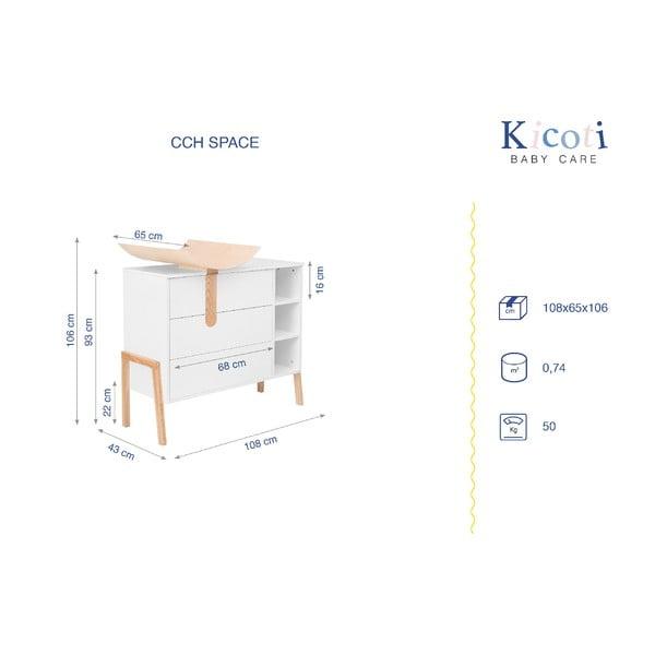 Bílá komoda s přebalovacím pultem KICOTI Space