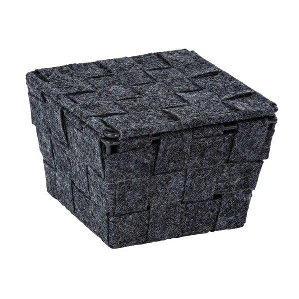Mara sötétszürke filc kosár fedéllel, szélesség 14 cm - Wenko