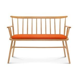 Bancă din lemn cu perne portocalii Fameg Loveseat