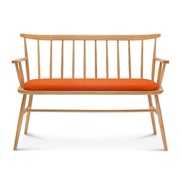 Dřevěná lavice s oranžovým polstrováním Fameg Loveseat