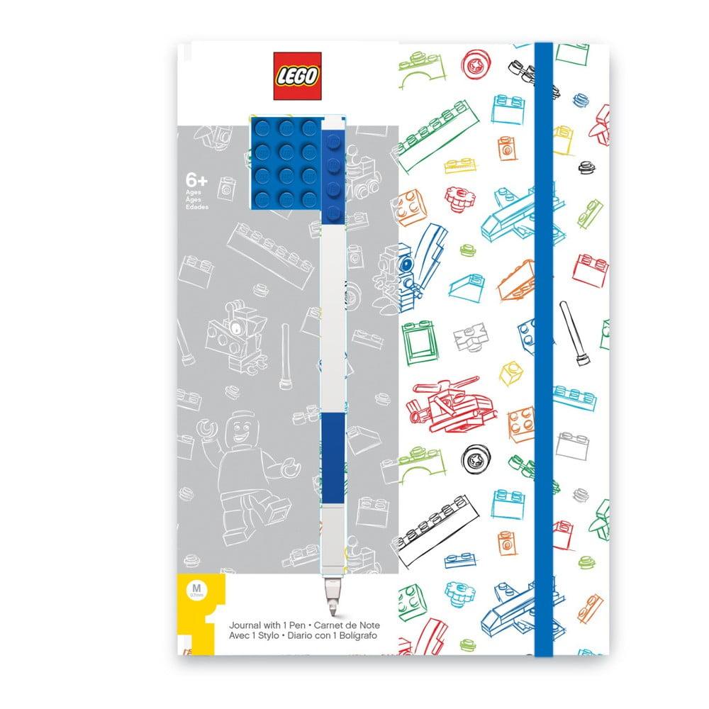 Modrobílý zápisník A5 s modrým perem LEGO®