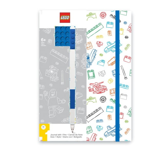 Caiet notițe A5 cu pix albastru LEGO®, albastru - alb, 96 pag.