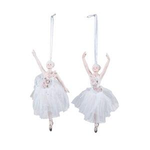 Sada 2 bílých závěsných vánočních dekorací Ego Dekor Ballerinas