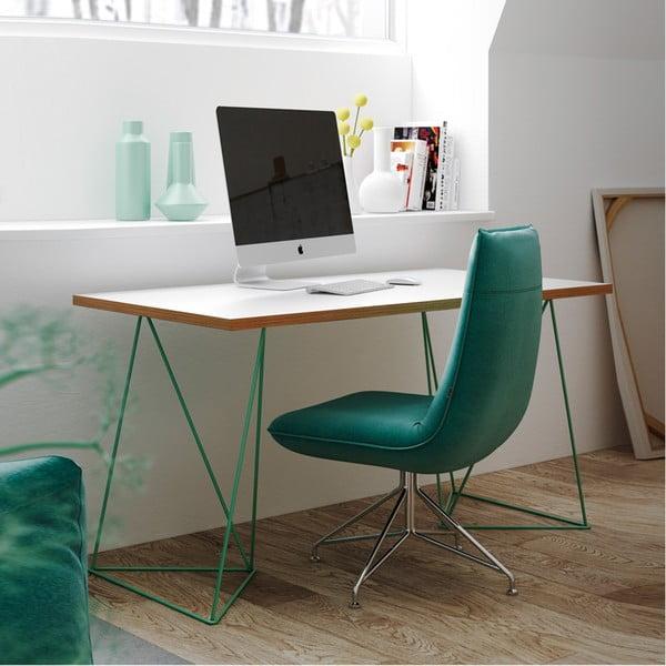 Bílý pracovní stůl se zelenými nohami TemaHome Flow, délka140cm