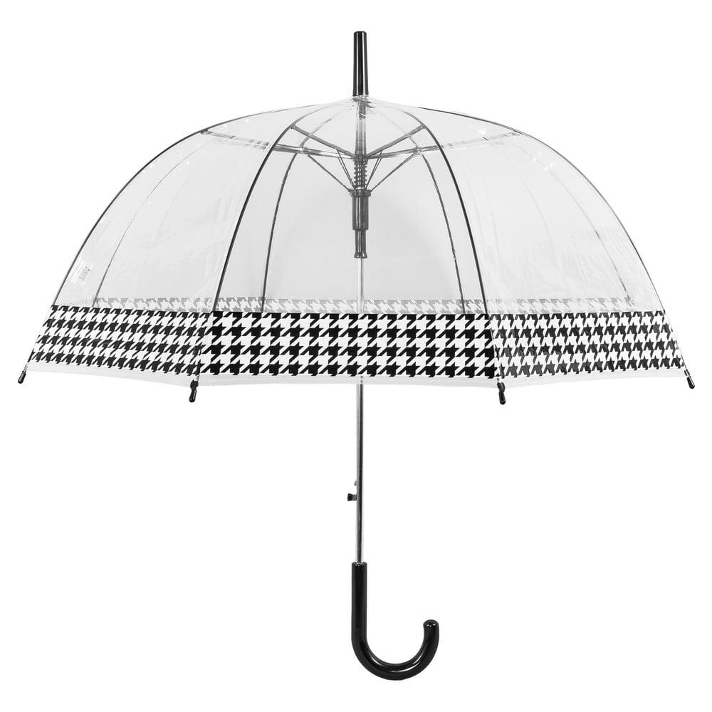 Transparentní větruodolný holový deštník sautomatickým otevíráním Ambiance Dog Stooth, ⌀84cm