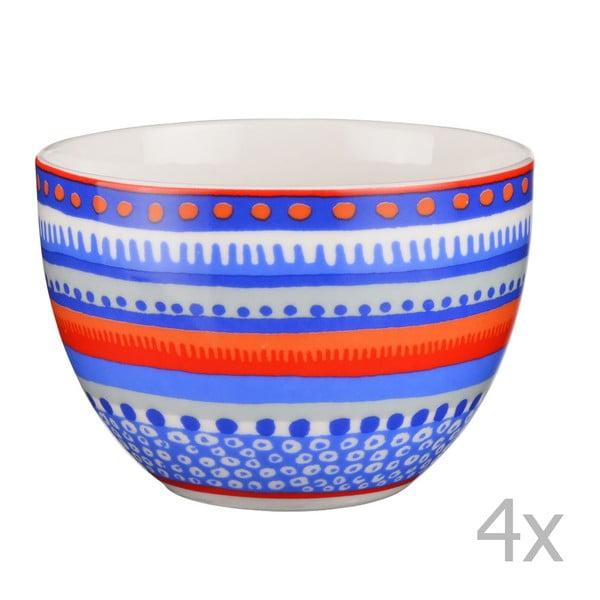 Sada 4 porcelánových misek / hrnků Oilily 10 cm, modrá