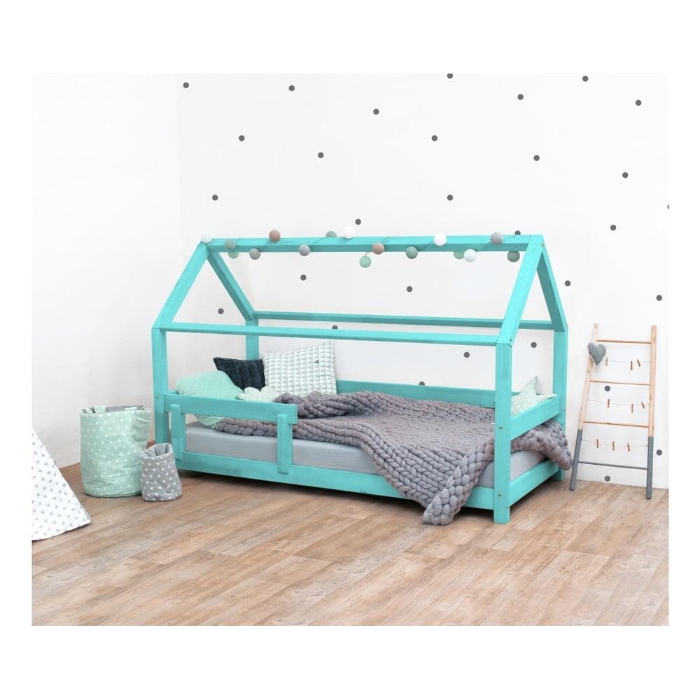 Tyrkysově modrá dětská postel ze smrkového dřeva s bočnicemi Benlemi Tery, 70 x 160 cm