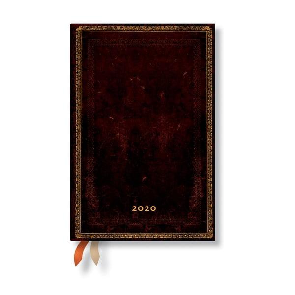 Agendă pentru anul 2020, cu copertă tare Paperblanks Black Morrocan, 160 file, maro