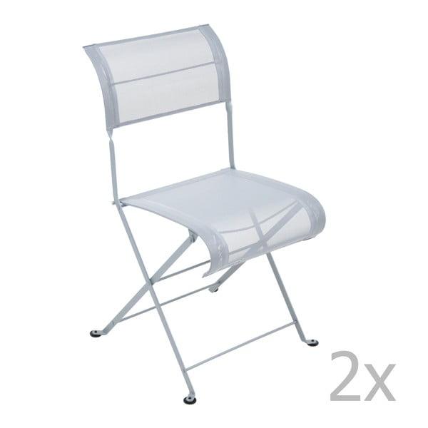 Sada 2 světle šedých skládacích židlí Fermob Dune
