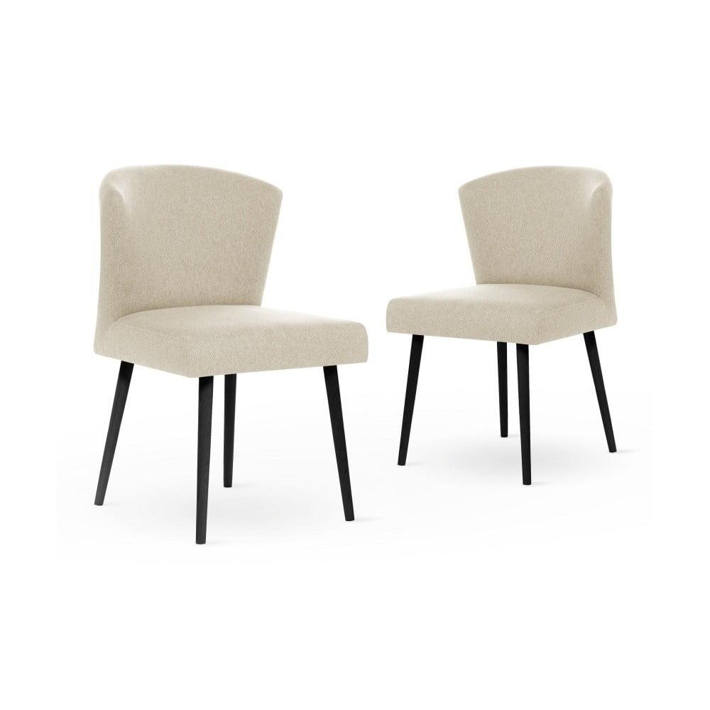 Sada 2 krémových židlí s černými nohami My Pop Design Richter