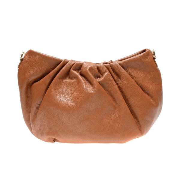 Hnědá kožená taška přes rameno Carla Ferreri