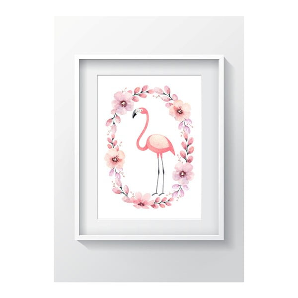 Nástěnný obraz OYO Kids Flower Ring Flamingo, 24 x 29 cm