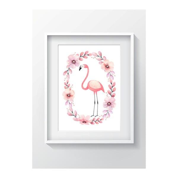 Nástenný obraz OYO Kids Flower Ring Flamingo, 24 x 29 cm
