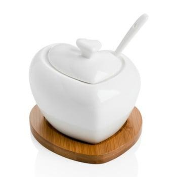 Zaharniță din porțelan cu linguriță și suport din bambus Brandani Heart de la Brandani