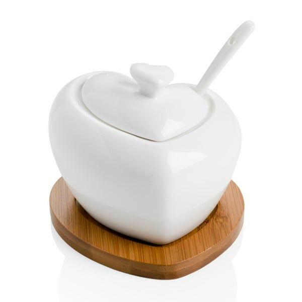 Porcelánová cukornička s lyžičkou a bambusovou podložkou Brandani Heart