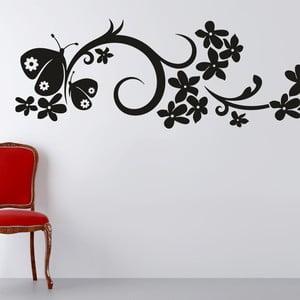 Samolepka na stěnu Ornament s květy a motýly, černá