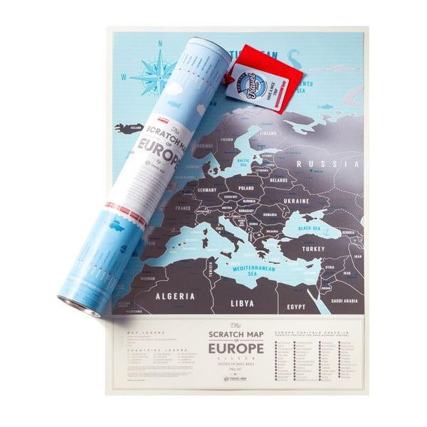 Stírací mapa Evropy Travel Map of the Europe Silver, 60x40 cm