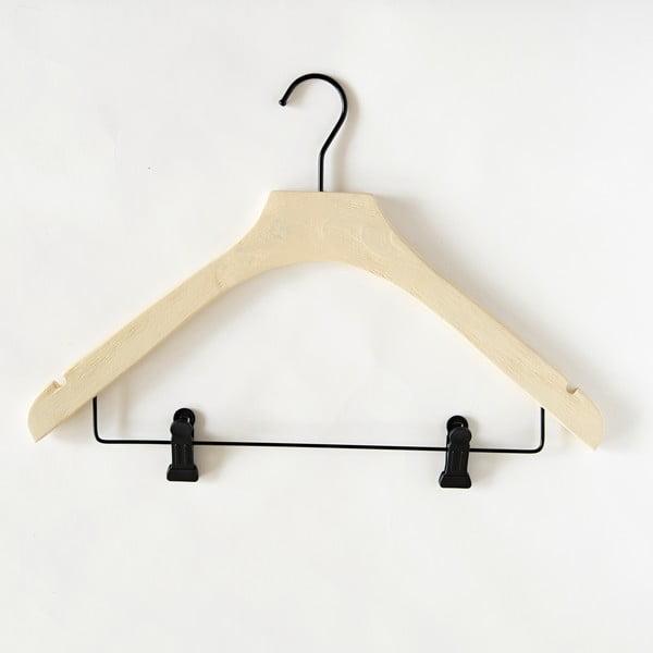 Světle žluté dřevěné ramínko se 2 klipsnami Compactor Hang&Keep