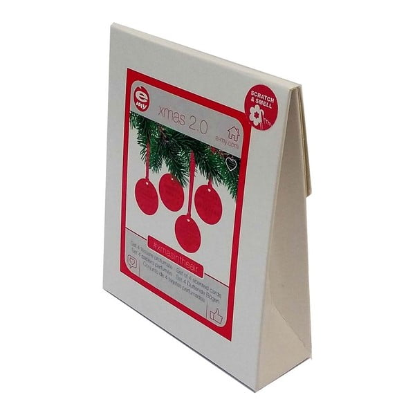 Sada 4 červených voňavých vánočních ozdob e-my