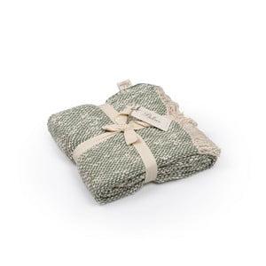 Zeleno-šedý přehoz z bavlny, 130 x 170 cm