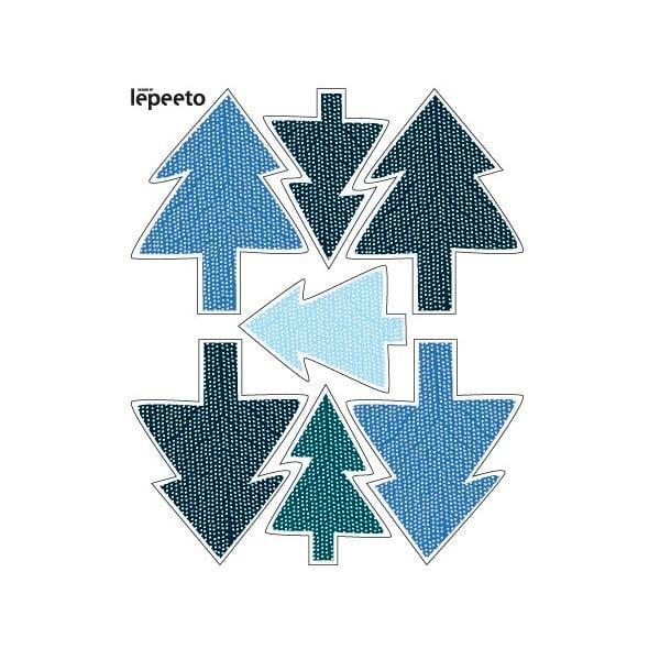 Elektrostatická samolepka Modré vánoční stromečky, 2x7 ks
