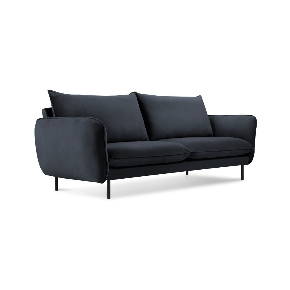 Produktové foto Tmavě modrá sametová pohovka Cosmopolitan Design Vienna, 160 cm