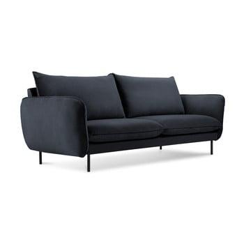 Canapea țesătură catifea Cosmopolitan Design Vienna, 160 cm, albastru închis imagine