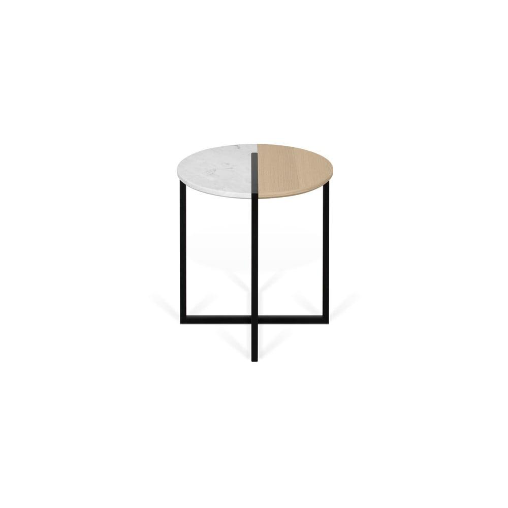 Konferenční stolek s deskou z dubového dřeva a mramoru TemaHome Sonata, ø 50 cm