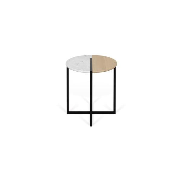 Stolik z blatem z drewna dębu i marmuru TemaHome Sonata, ø 50 cm