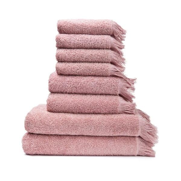 6 db 100% pamut rózsaszín törölköző és 2 db fürdőlepedő - Bonami
