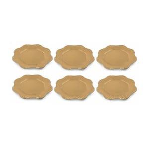 Sada 6 vánočních dekorativních plastových talířů ve zlaté barvě Villa d'Este XMAS Piatto Smerlato, ⌀ 33 cm