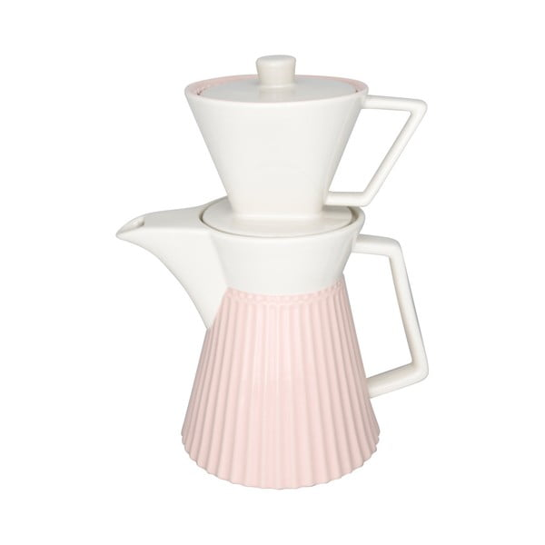 Carafă din ceramică pentru cafea Green Gate Alice, alb-roz